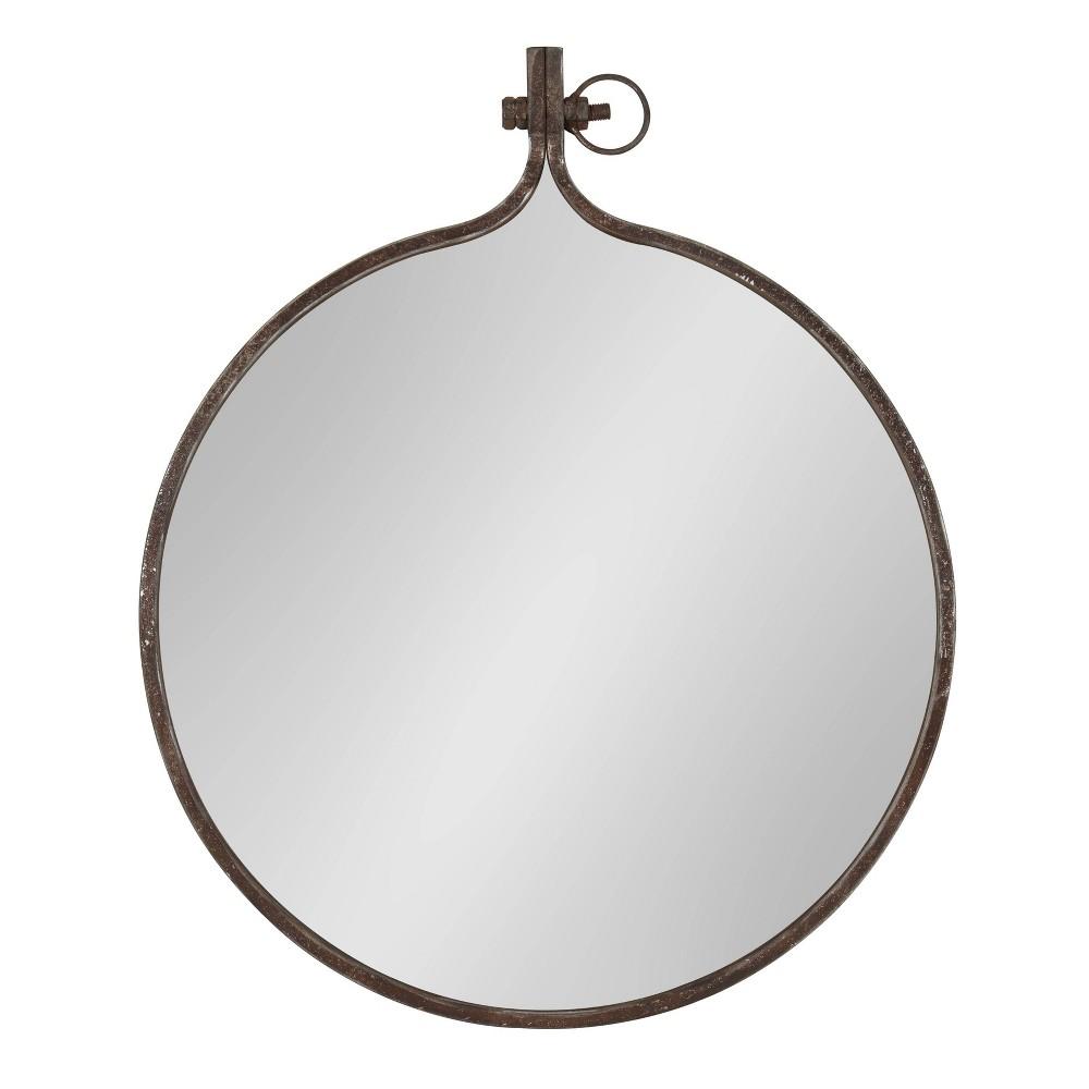 "Image of ""23.5""""x28.5"""" Yitro Round Metal Wall Mirror Bronze - Kate and Laurel, Brown"""