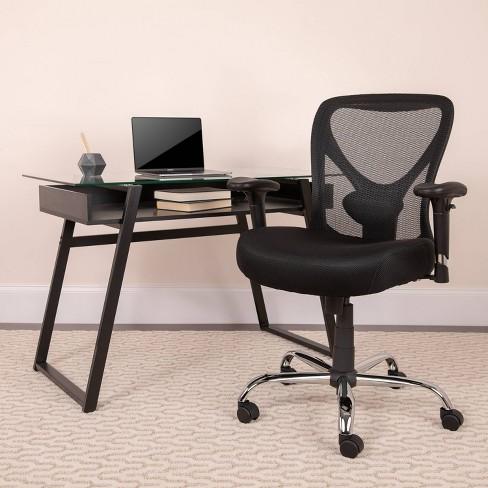 HERCULES Series 400 lb  Capacity Big & Tall Swivel Task Chair Black Mesh -  Flash Furniture