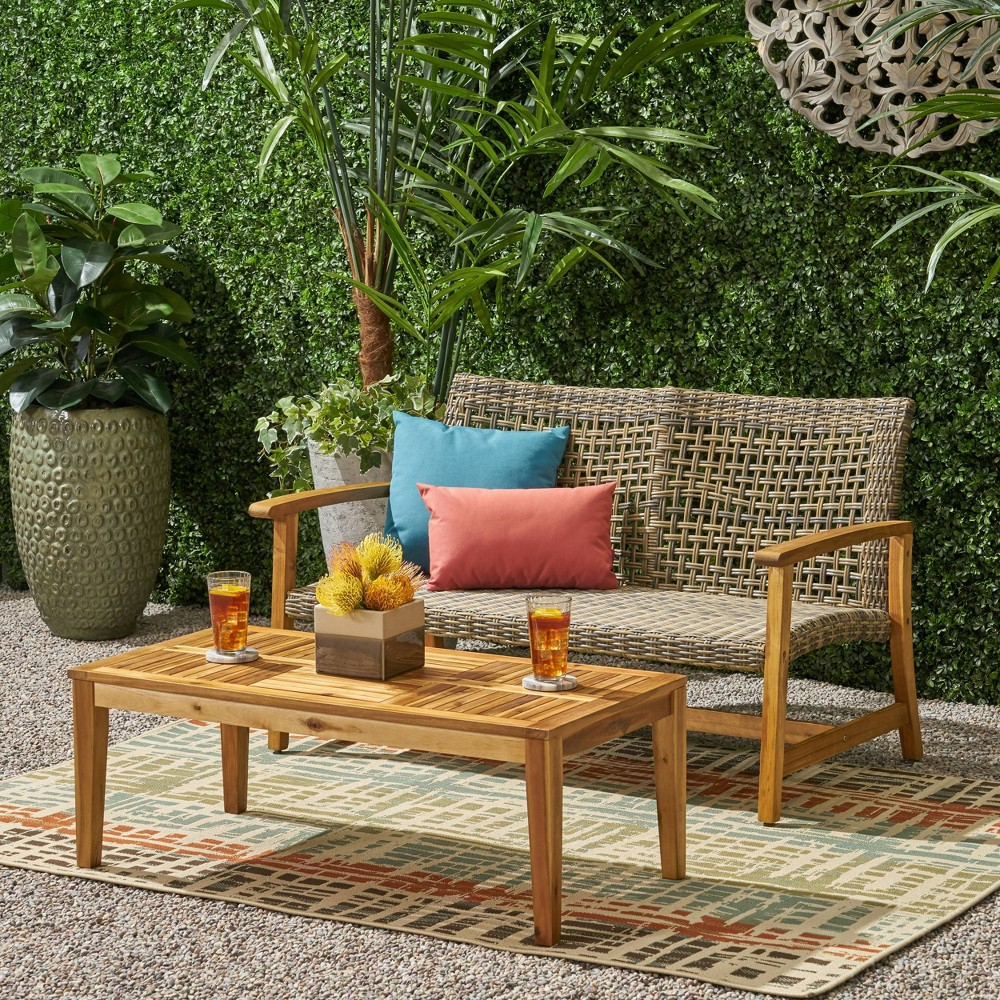 Image of 2pc Hampton Wood and Wicker Patio Loveseat and Coffee Table Set Gray - Christopher Knight Home