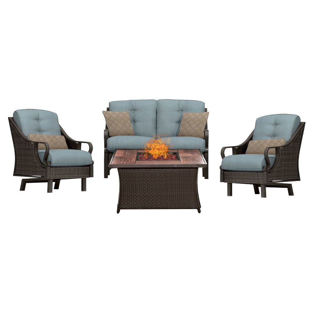 Venture 4pc All-Weather Wicker Patio Chat Set w/Fire Pit - Ocean Blue - Hanover