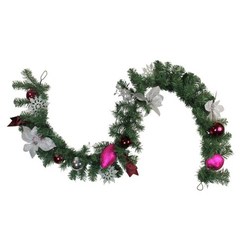 Northlight 6 X 9 Unlit Pink Silver Poinsettia Eucalyptus Artificial Christmas Garland
