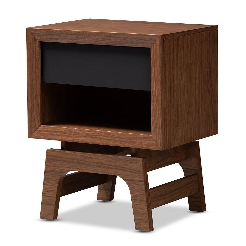 1 Drawer Svante Wood Nightstand Brown - Baxton Studio