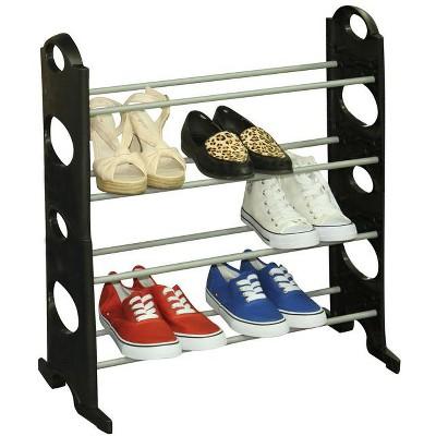 Home Basics Stackable  12 Pair Metal and Plastic Shoe Rack, Black