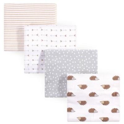 Hudson Baby Unisex Baby Cotton Flannel Receiving Blanket Hedgehog - One Size