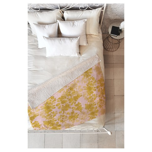 "Pink Geometric Gabi Audrey Gold Sherpa Throw Blanket (50""X60"") - Deny Designs® - image 1 of 1"