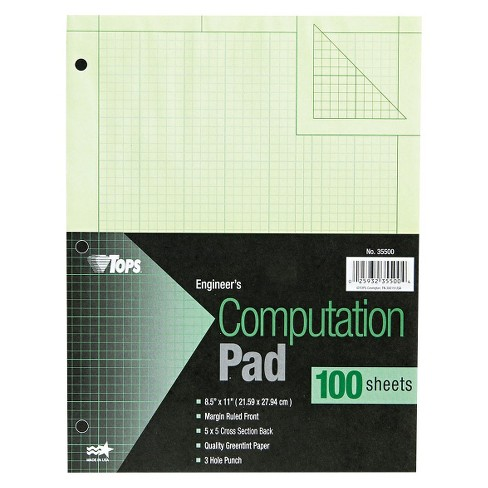 TOPS® 8 1/2 x 11 Engineering Computation Pad, Quad Rule- Green (100 Sheets per Pad) - image 1 of 1