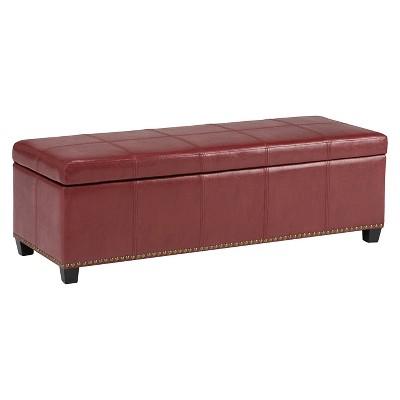 Stanford Large Storage Ottoman Radicchio Red Bonded Leather - Wyndenhall