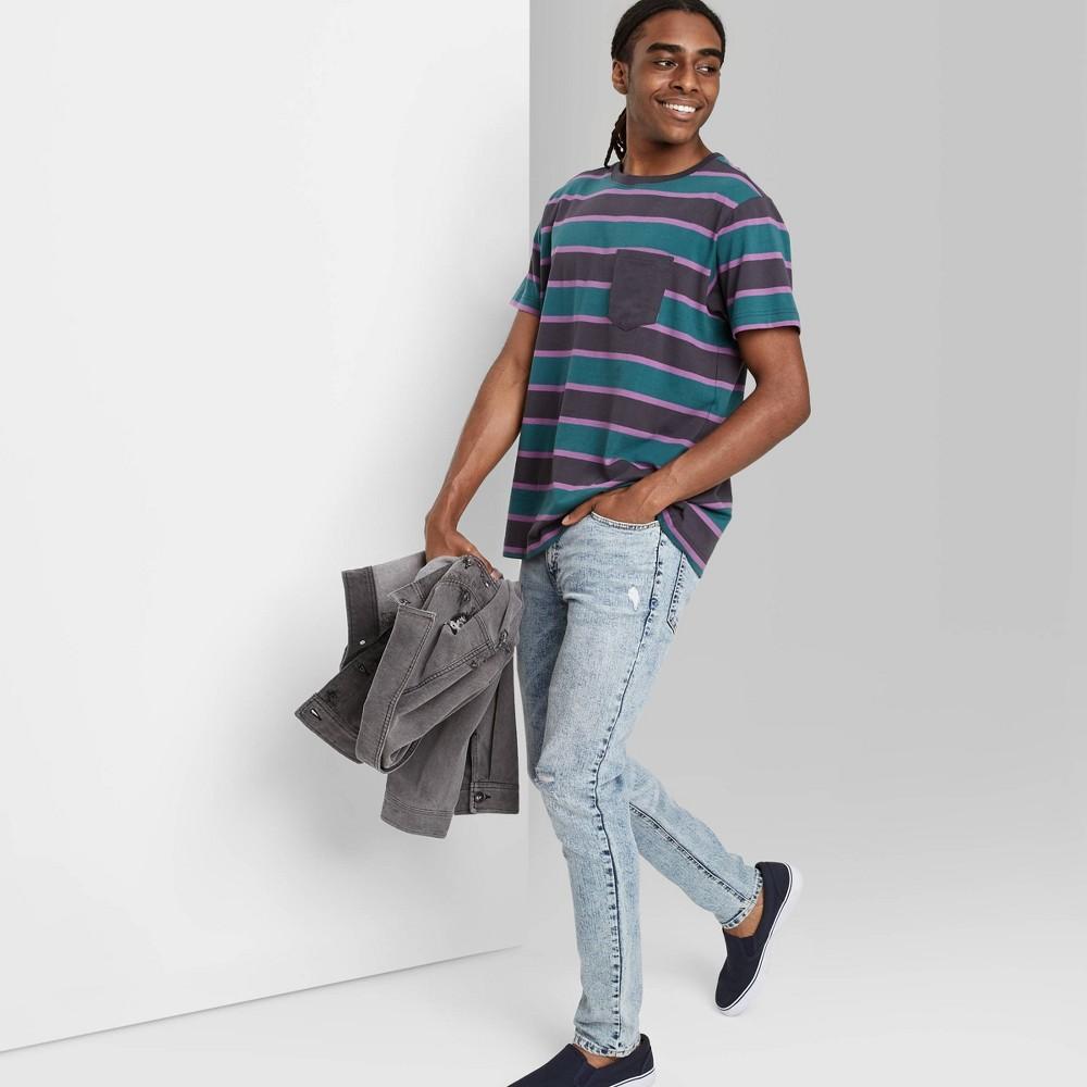 Men 39 S Striped Regular Fit Short Sleeve Crewneck T Shirt Original Use 8482 Vintage Green M