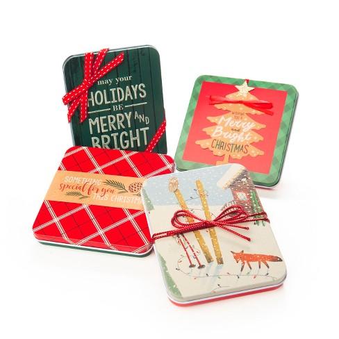 4ct Red/Green Folk Tin Flocked Gift Card Holder - Wondershop™ - image 1 of 1
