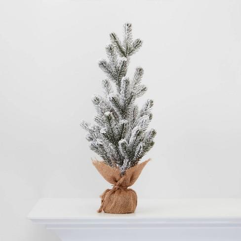 "18"" Burlap Wrapped Plastic Flocked Tree - Wondershop™ - image 1 of 2"