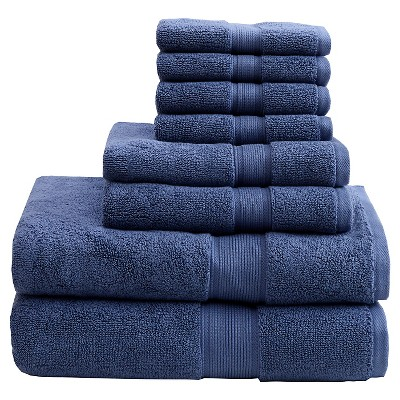 8pc Bath Towel Set Navy