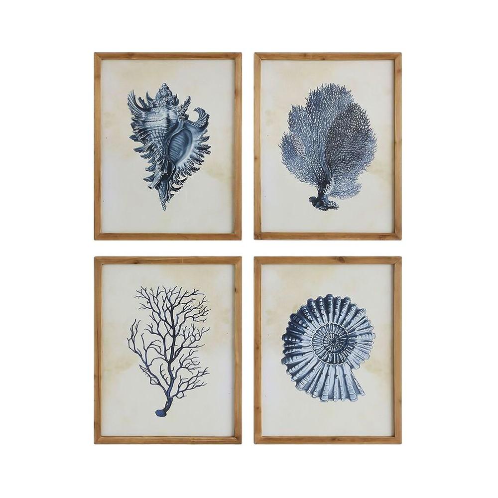 Coral & Shells Wood Wall Plaque Blue/Brown 4pk - 3R Studios