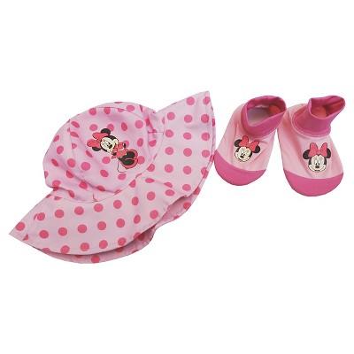 Minnie Mouse Baby Girls' Swim Hat/Aqua Socks Set - Pink 0-12M