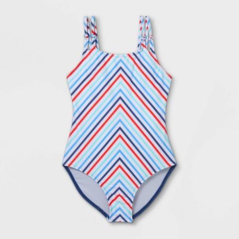 Girls' Chevron Striped One Piece Swimsuit - art class™ - image 1 of 2