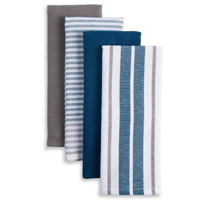 4pk Bistro Kitchen Towels Gray/Navy/White - Town & Country Living