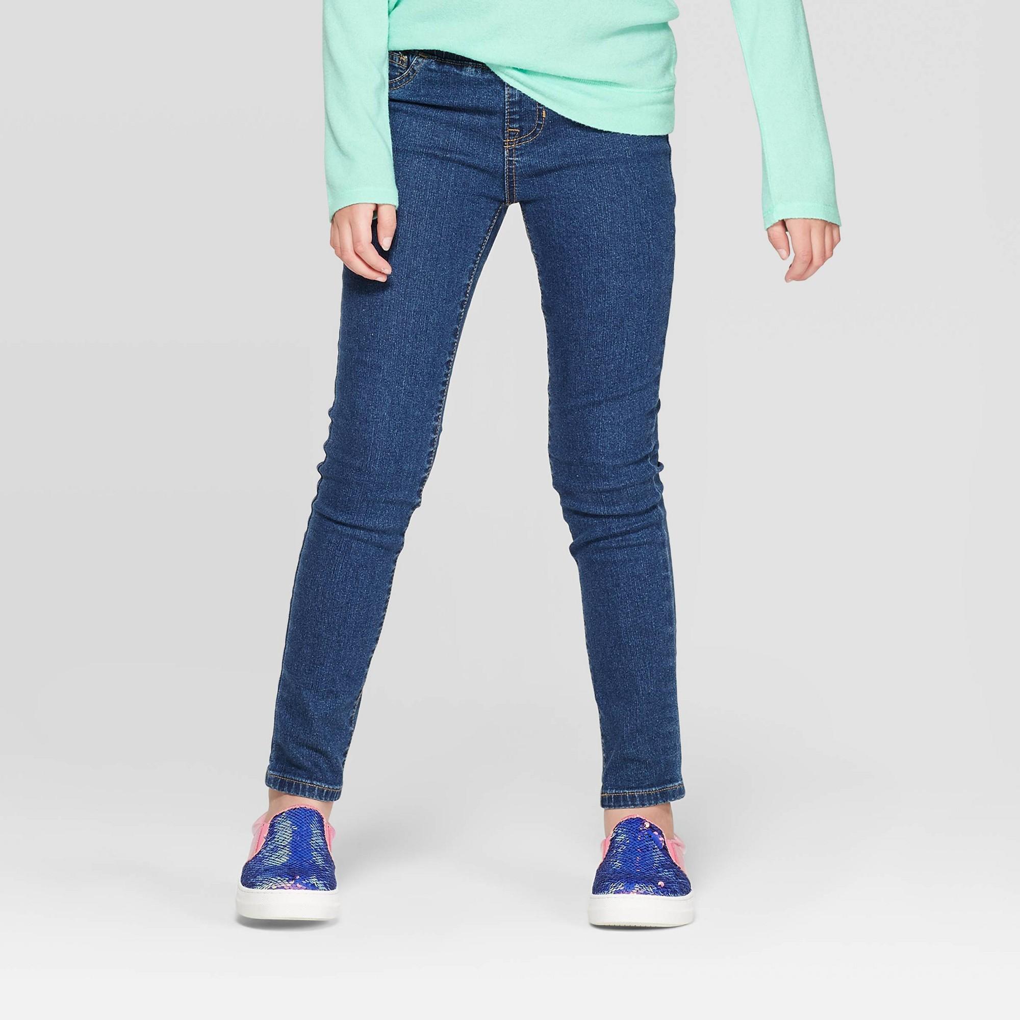 Plus Size Girls' Pull-On Skinny Jeans - Cat & Jack Medium Wash 10 Plus, Blue