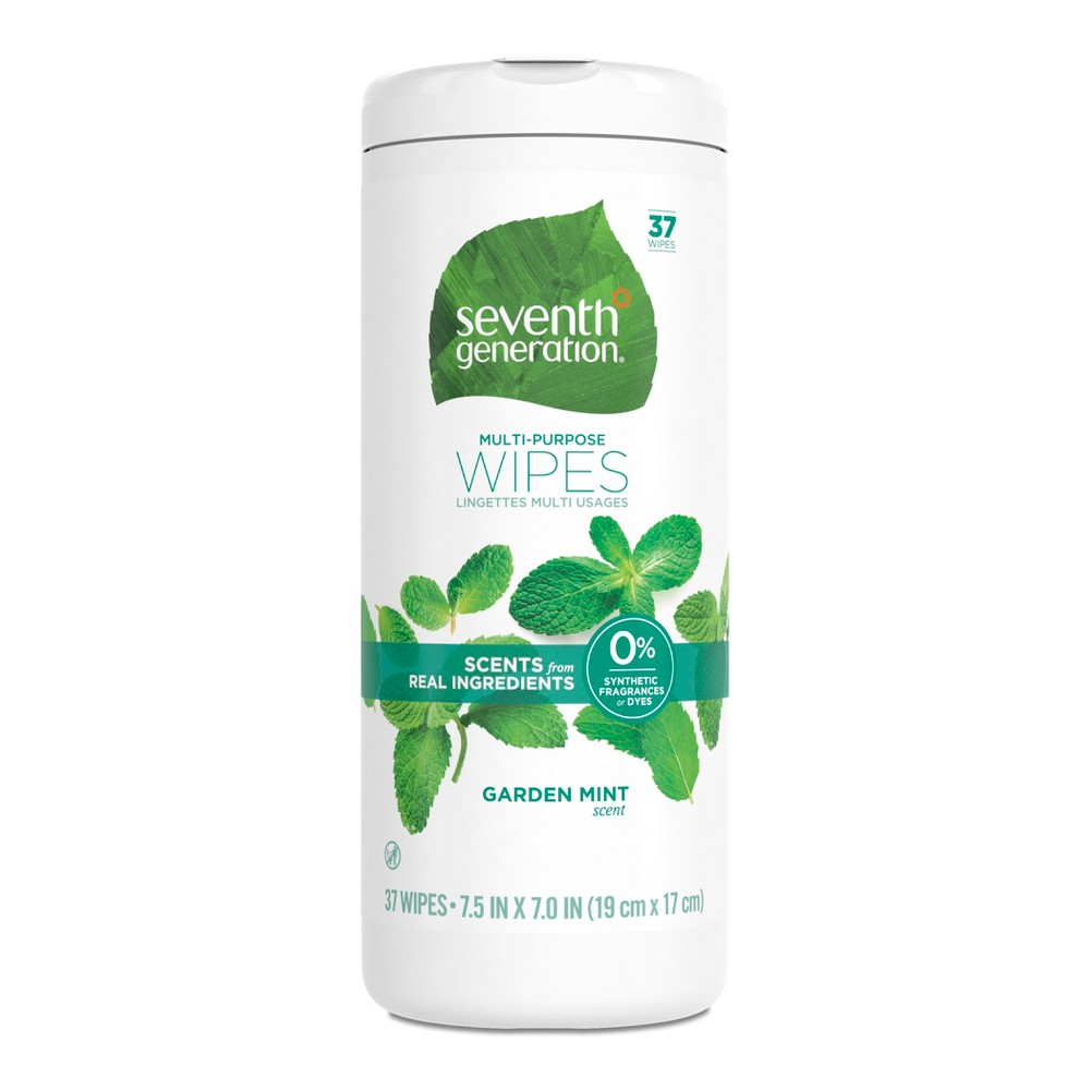 Seventh Generation Garden Mint Scent Multi Purpose Wipes - 37ct, White Make quick work of everyday messes with Seventh Generation's Multi-Purpose Wipes. They're perfect for all-purpose, anytime cleaning on kitchen counters, appliances, bathrooms, kids' toys-and most surfaces in your busy home. Our wipes are a 98 percent Usda Certified Biobased product, providing a powerful clean with one-step convenience, and without dyes or synthetic fragrances. Plus, our garden mint scent is made from essential oils and botanical ingredients, for a smell that's delightfully refreshing and isn't overpowering. Color: White.