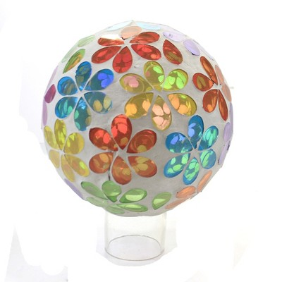 "Home & Garden 7.0"" Bright Floral Gazing Ball Mosaic Flowers Evergreen Enterprises Inc  -  Outdoor Sculptures And Statues"