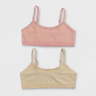Hanes Girls' 2pk Cotton Bra with Lace - Pink/Beige