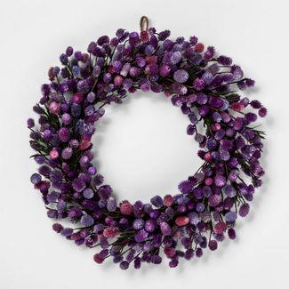 "21.2"" Dried Thistle Wreath Purple - Smith & Hawken™"