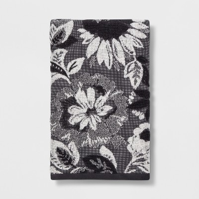 Floral Warm Bath Towel Black/White - Threshold™