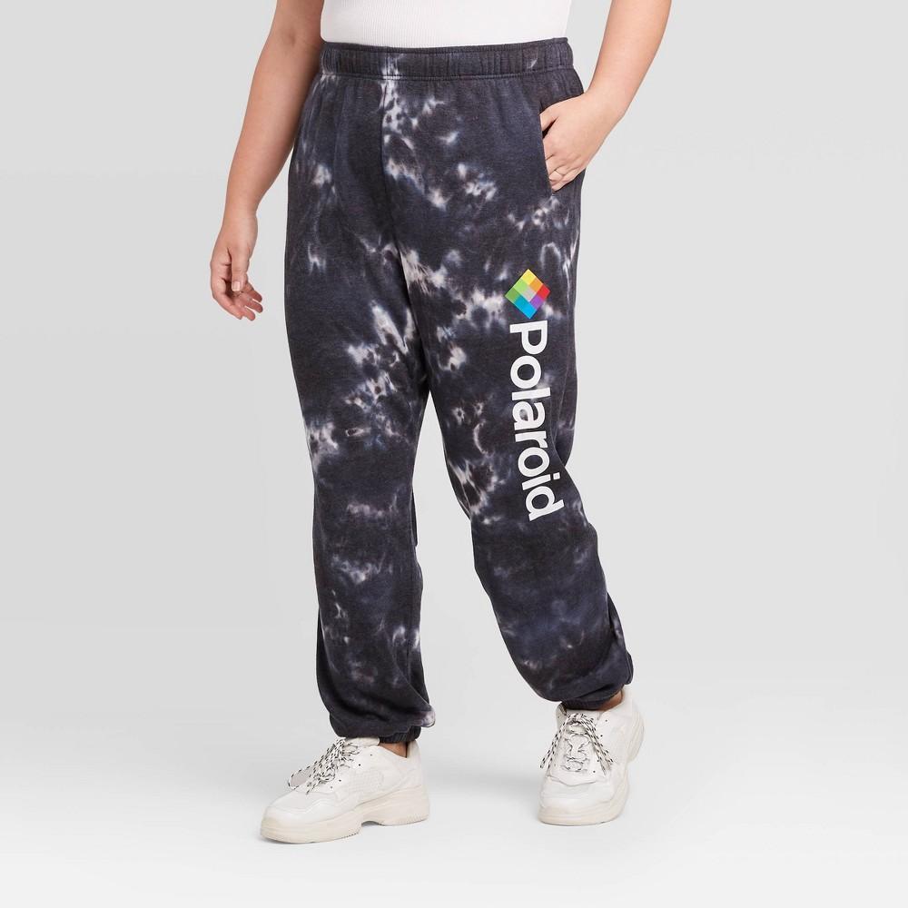 Image of Women's Polaroid Plus Size Tie Dye Washed Jogger Pants (Juniors') - Black 1X, Women's, Size: 1XL