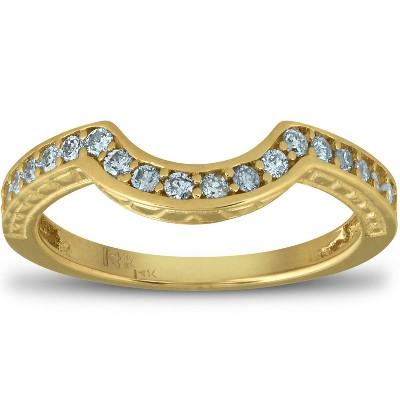 Pompeii3 1/5 Ct Diamond Curved Wedding Engagement Ring Enhancer Band 14k Yellow Gold