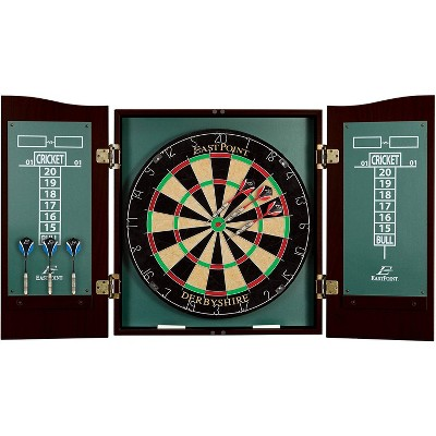 EastPoint Sports Derbyshire Dartboard and Cabinet Set with Self-Healing Fiber