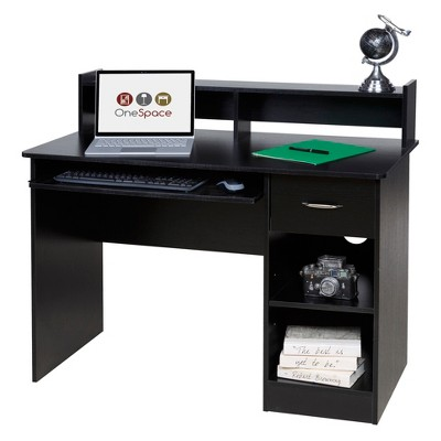 OneSpace 50-LD0105 Essential Computer Desk, Hutch, Pull-Out Keyboard - Black