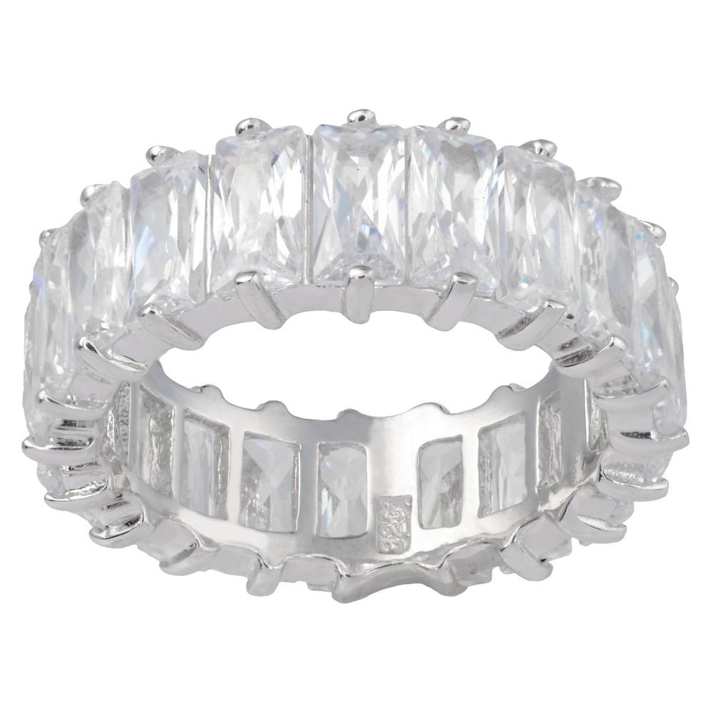 8 1/3 CT. T.W. Emerald-Cut Cubic Zirconia Basket Set Wedding Ring in Sterling Silver - Silver (5)