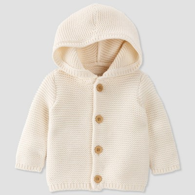 Baby Hooded Sweater Cardigan - little planet by carter's Cream