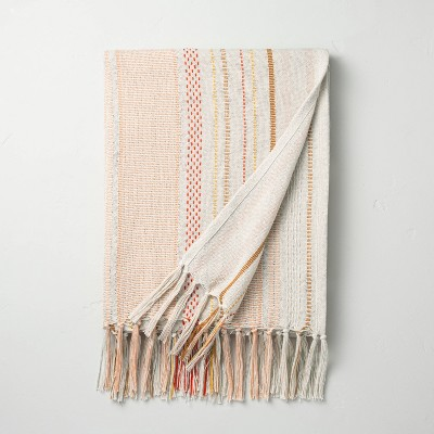 Variegated Stripes Summer Fringe Throw Pink/Yellow - Hearth & Hand™ with Magnolia