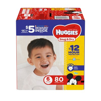 Huggies Snug & Dry Diapers Super Pack - Size 6 (80ct)