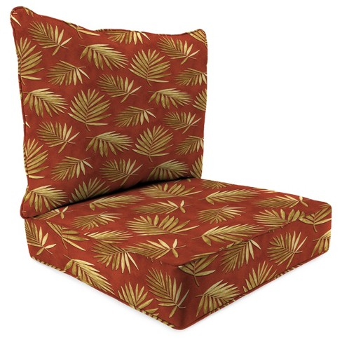 Outdoor Set Of 2PC Deep Seat Chair Cushion In Fossil Fronds Rust  - Jordan Manufacturing - image 1 of 1
