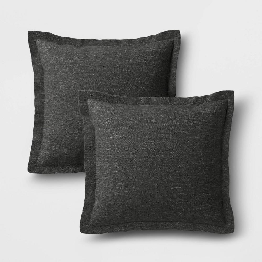 Image of 2pk Outdoor Throw Pillows DuraSeason Fabric Charcoal - Threshold