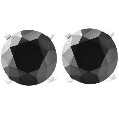 Pompeii3 14k White Gold 1ct Round Cut Black Diamond Studs