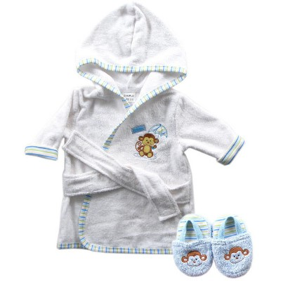 Luvable Friends Baby Boy Cotton Terry Bathrobe, Blue Monkey, One Size