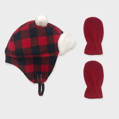 Baby Boys' Buffalo Plaid Trapper and Fleece Mittens Set - Cat & Jack™ Black/Red 6-12M