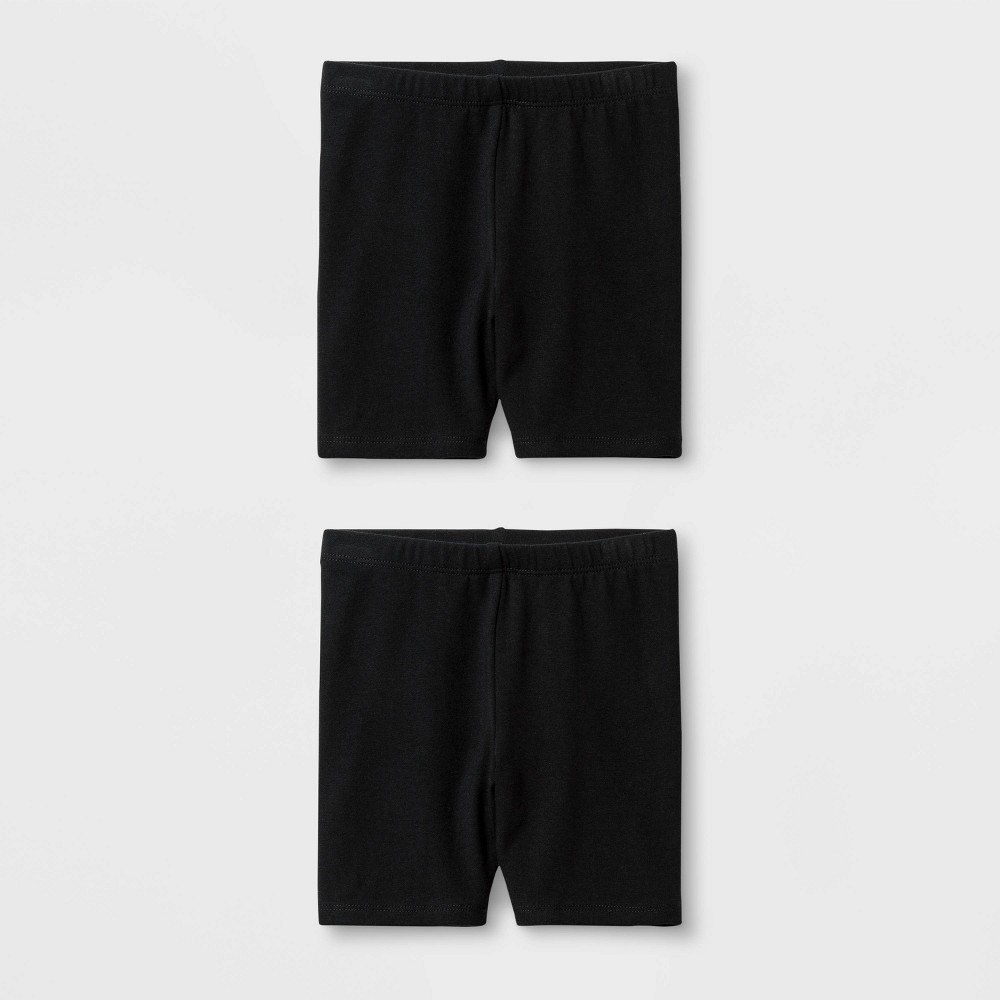 Toddler Girls' Solid 2pk Bike Shorts - Cat & Jack Black 12M