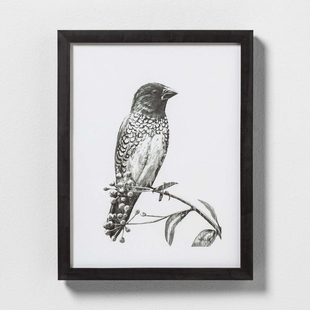 "Image of ""11"""" X 14"""" Sketched Bird on Branch Wall Art with Black Wood Frame - Hearth & Hand with Magnolia"""