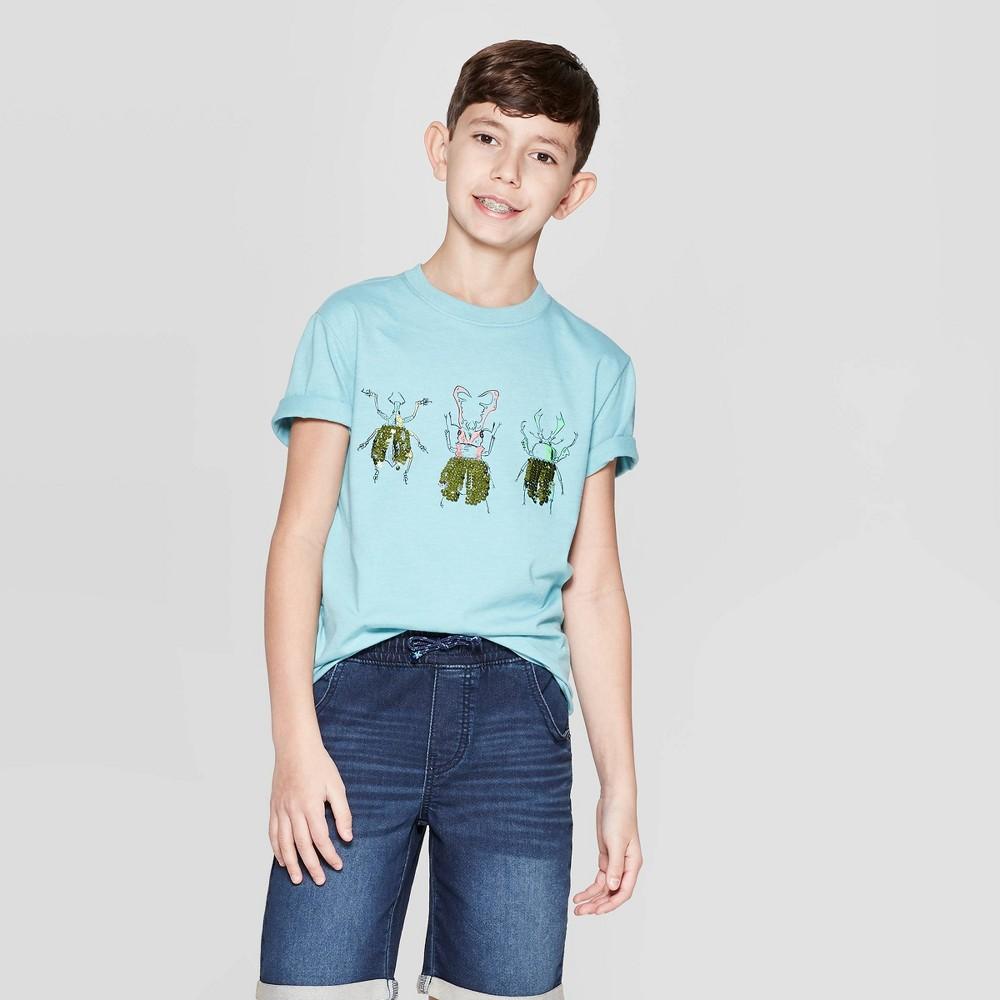 Boys' Short Sleeve Flip Sequin T-Shirt - Cat & Jack Aqua M, Blue