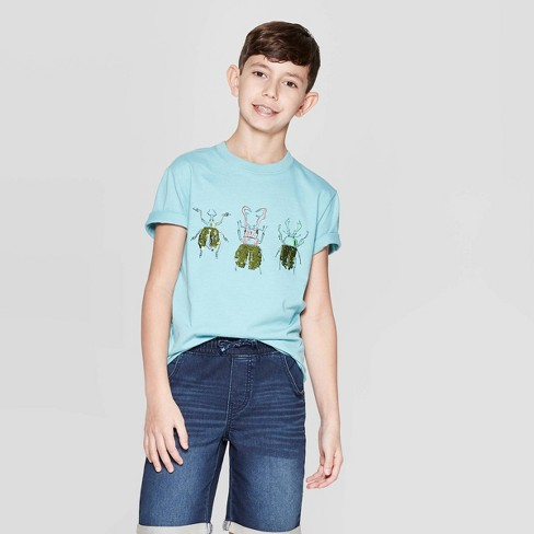 Boys' Short Sleeve Flip Sequin T-Shirt - Cat & Jack™ Aqua - image 1 of 4