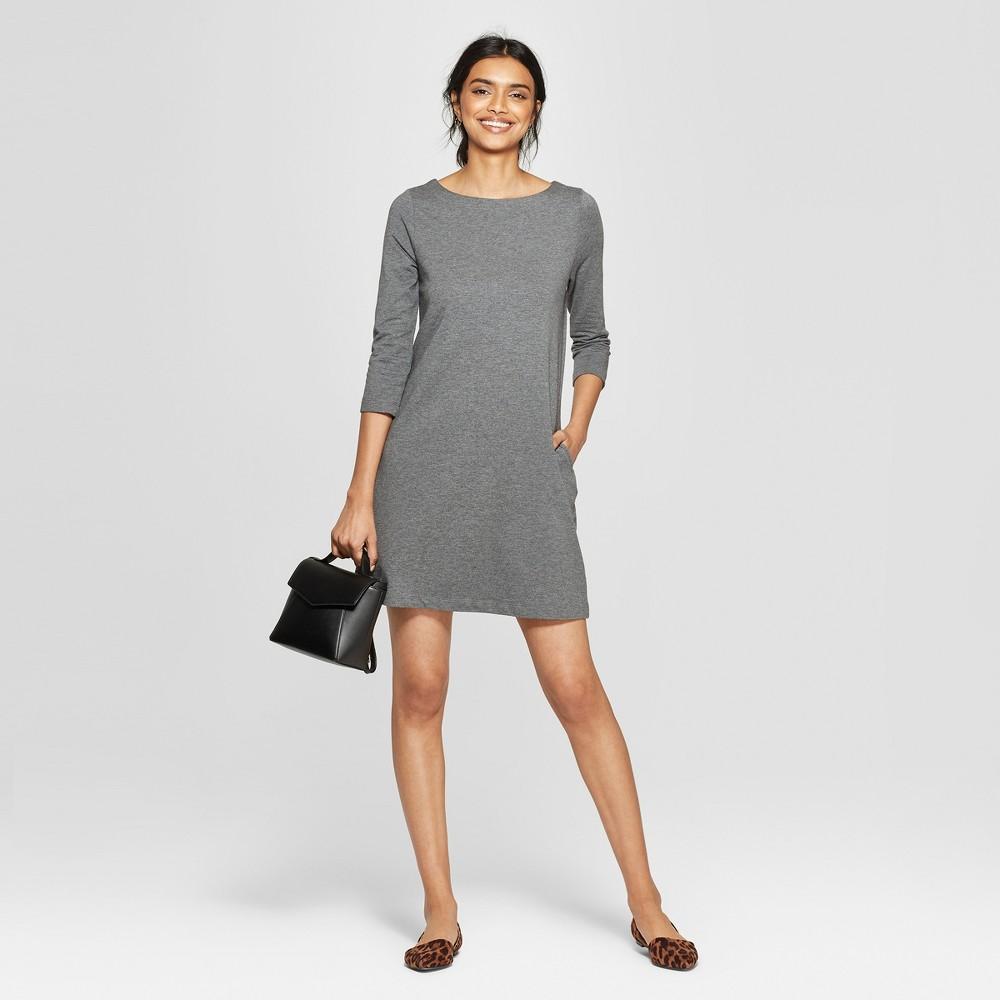 Women's 3/4 Sleeve Crew Neck Knit Dress - A New Day Dark Gray S