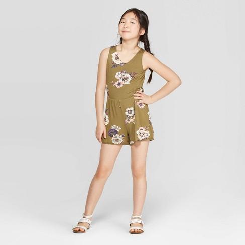 Girls' Keyhole Back Knit Romper - art class™ Olive XL - image 1 of 3