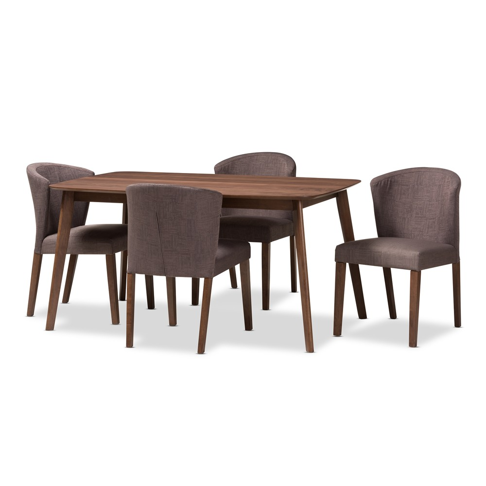 Baxton Studio Cassie Mid Century Modern Walnut Wood Finish Fabric 5pc Dining Set Brown