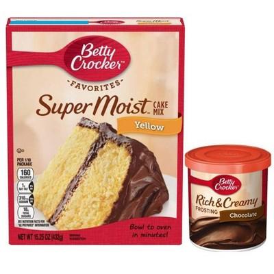 Betty Crocker Super Moist Yellow Cake Mix & Chocolate Frosting Bundle
