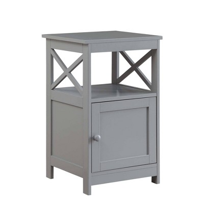 Oxford End Table with Cabinet Gray - Breighton Home
