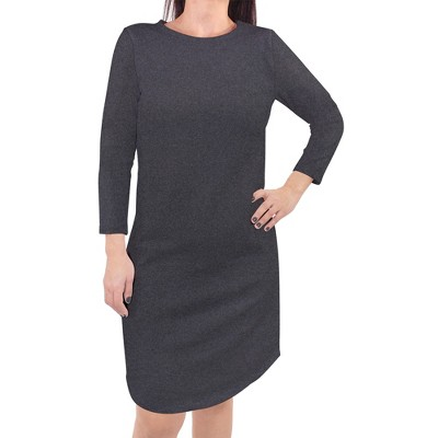 Touched by Nature Womens Organic Cotton Long-Sleeve Dress, Charcoal Heather