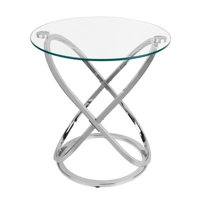 Danya B. Galaxy and Tempered Glass Round End Table - Chrome