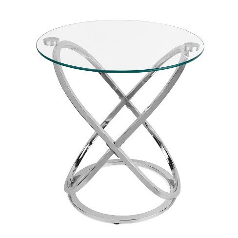Danya B. Galaxy and Tempered Glass Round End Table - Chrome - image 1 of 3